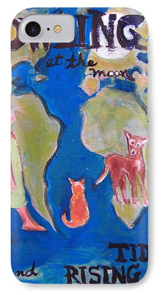 Girl Howling At The Moon And Rising Tides IPhone Case by Betty Pieper