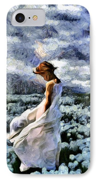 Girl In A Cotton Field IPhone Case by Georgiana Romanovna