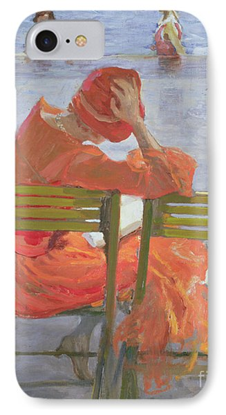 Girl In A Red Dress Reading By A Swimming Pool IPhone Case