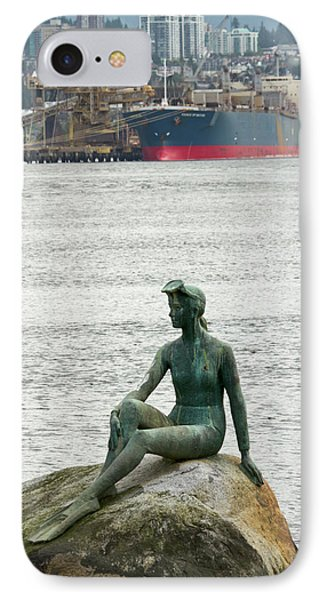 Girl In A Wetsuit Statue, Stanley Park IPhone Case by William Sutton