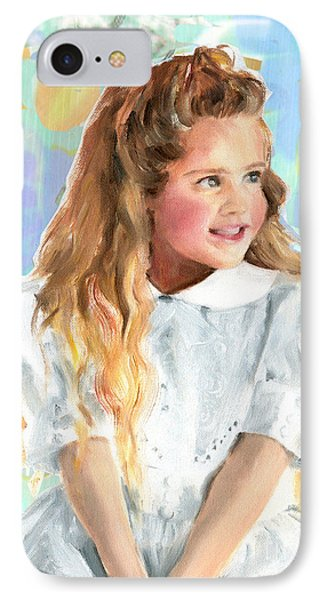 IPhone Case featuring the painting Girl In A White Lace Dress  by Greta Corens