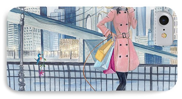 Girl In New York IPhone Case by Caroline Bonne-Muller