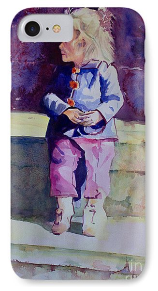 Girl In The Blue Jacket Phone Case by Janet Felts