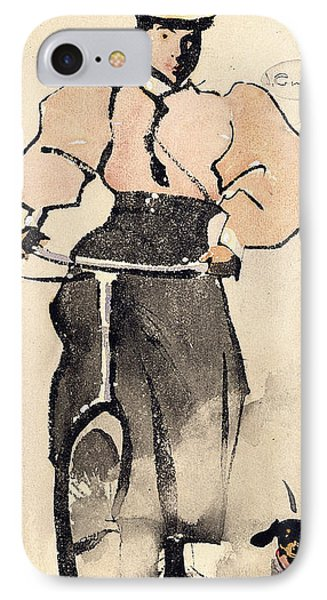 Girl On A Bicycle, C.1896 IPhone Case by Joseph Crawhall