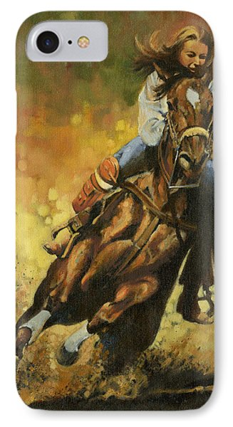 Girl Barrel Racing IPhone Case by Don  Langeneckert