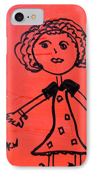 IPhone Case featuring the painting Girl On Red by Mary Carol Williams