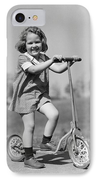 Girl On Scooter, C.1930s IPhone Case by H. Armstrong Roberts/ClassicStock