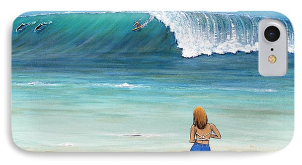 Girl On Surfer Beach Phone Case by Jerome Stumphauzer