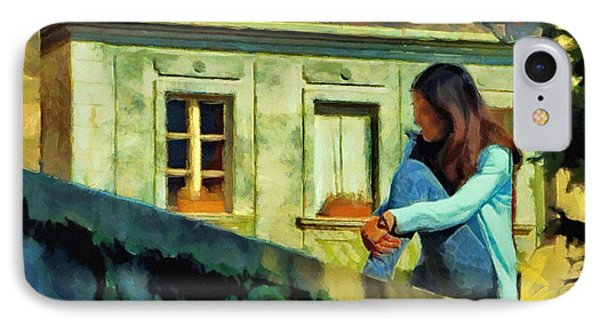 IPhone Case featuring the painting Girl Posing On Stone Wall by Jeff Kolker
