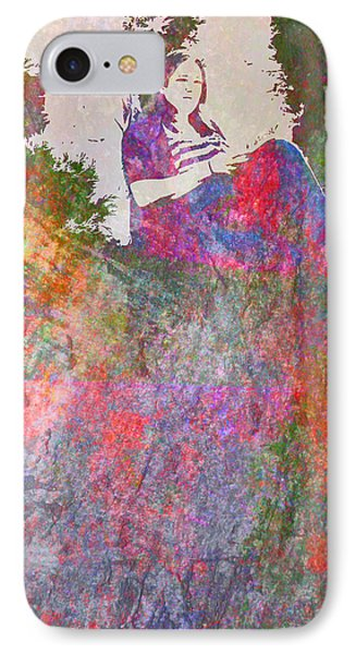 IPhone Case featuring the mixed media Girl Reading In A Garden by John Fish