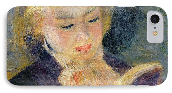Girl Reading IPhone Case by Pierre Auguste Renoir