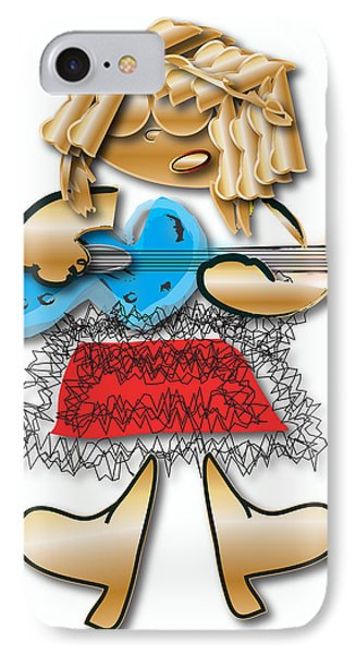 IPhone Case featuring the digital art Girl Rocker 6 String Guitar by Marvin Blaine