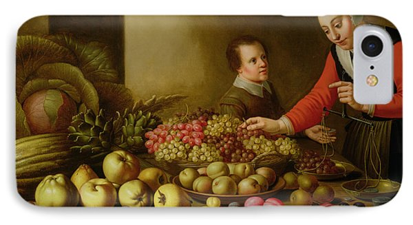 Girl Selling Grapes From A Large Table Laden With Fruit And Vegetables IPhone Case