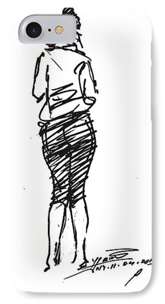 Girl Sketch IPhone Case by Ylli Haruni