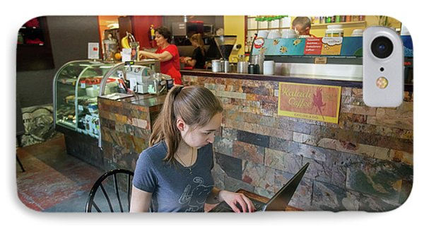 Girl Using A Laptop In A Cafe IPhone Case