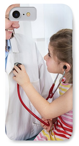 Girl Using A Stethoscope On Doctor IPhone Case