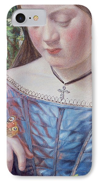 Girl With A Butterfly IPhone Case by William J Webb