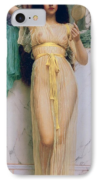 Girl With A Mirror IPhone Case by John William Godward