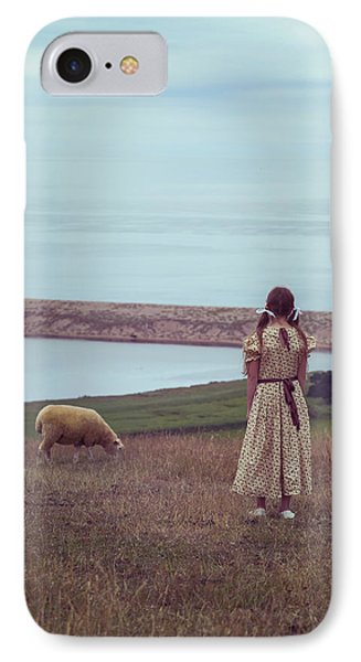 Girl With A Sheep Phone Case by Joana Kruse