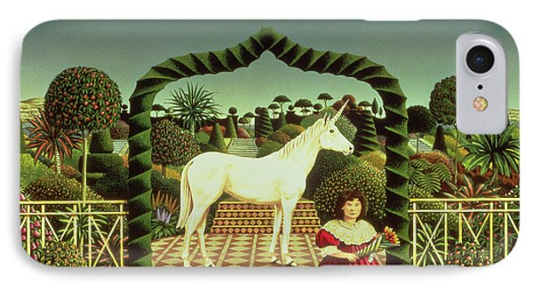 Girl With A Unicorn IPhone Case by Anthony Southcombe