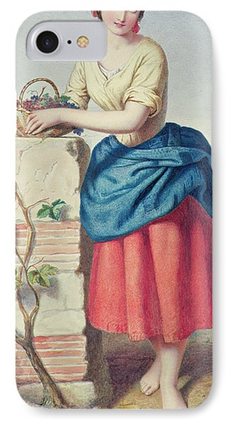 Girl With Basket Of Grapes IPhone Case by Jules I Bouvier