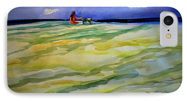 Girl With Dog On The Beach Phone Case by Julianne Felton