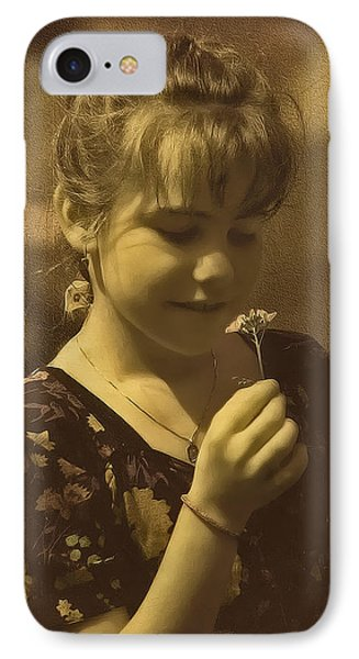 Girl With Flower IPhone Case by Hanny Heim
