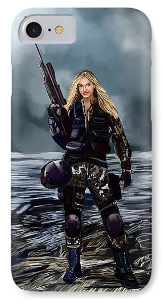 IPhone Case featuring the digital art Girl With Gun by Bogdan Floridana Oana