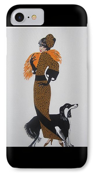 IPhone Case featuring the painting Girl With Orange Fur by Nora Shepley