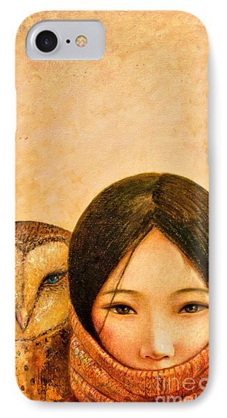 Girl With Owl IPhone Case by Shijun Munns