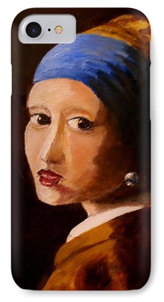 Girl With Pearl Phone Case by Constantinos Charalampopoulos