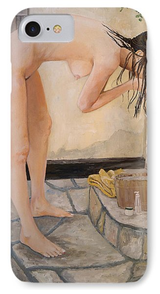 IPhone Case featuring the painting Girl With The Golden Towel by Alan Lakin