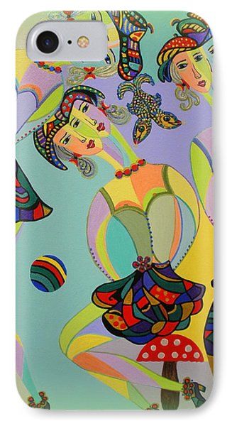 IPhone Case featuring the painting Girls Fantasy by Marie Schwarzer