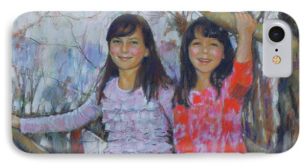 IPhone Case featuring the drawing Girls Upon The Tree by Viola El
