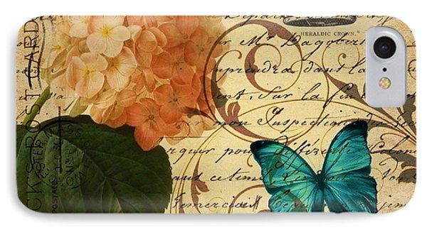 girly Hydrangea  butterfly vintage paris scripts IPhone Case