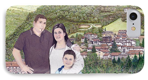 IPhone Case featuring the painting Giusy Mirko And Simone In Valle Castellana by Albert Puskaric