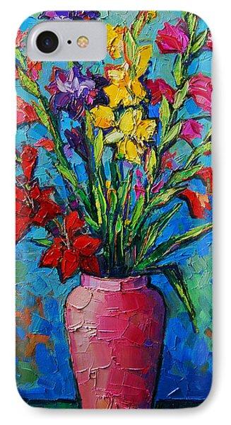 Gladioli In A Vase IPhone Case by Mona Edulesco