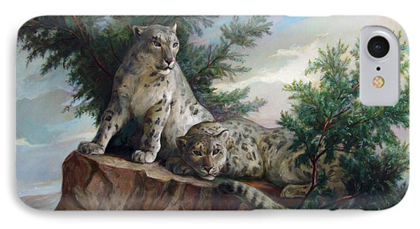 IPhone Case featuring the painting Glamorous Friendship- Snow Leopards by Svitozar Nenyuk