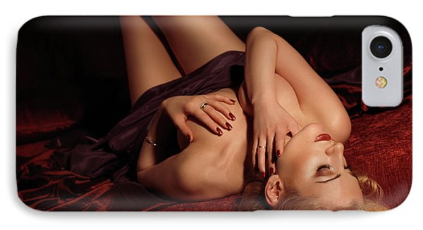 Glamour Photo Of A Woman Lying On A Bed Phone Case by Oleksiy Maksymenko