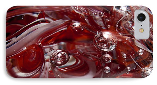 Glass Macro Abstract - Crimson And Gray Iv Phone Case by David Patterson