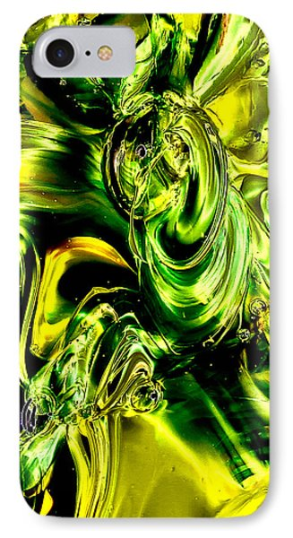 Glass Macro Abstract - Greens And Yellows Phone Case by David Patterson