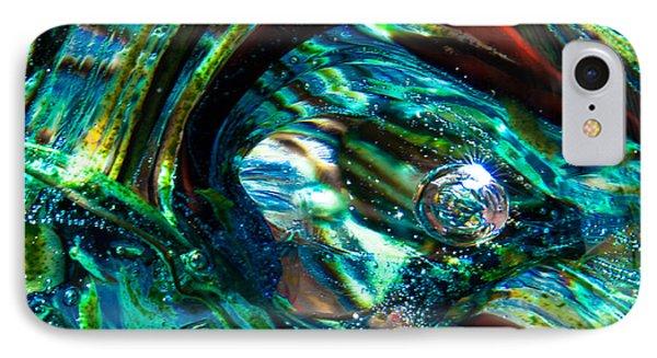 Glass Macro - Blue Green Swirls Phone Case by David Patterson