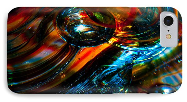 Glass Macro - Blues And Orange Phone Case by David Patterson