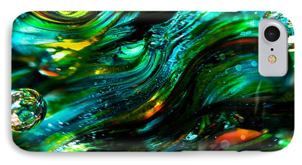 Glass Macro - Greens And Blues Phone Case by David Patterson