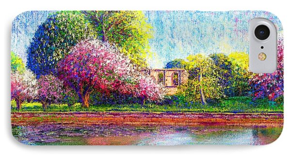 Glastonbury Abbey Lily Pool Phone Case by Jane Small