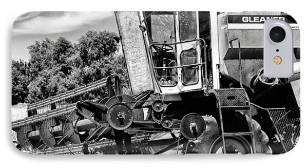 Gleaner F Combine In Black-and-white IPhone Case by Bill Kesler