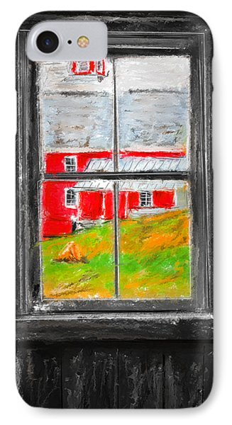 Glimpse Of Country Life- Red Barn Art IPhone Case by Lourry Legarde
