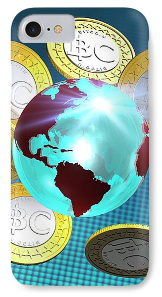 Globe And Bitcoins IPhone Case by Victor Habbick Visions