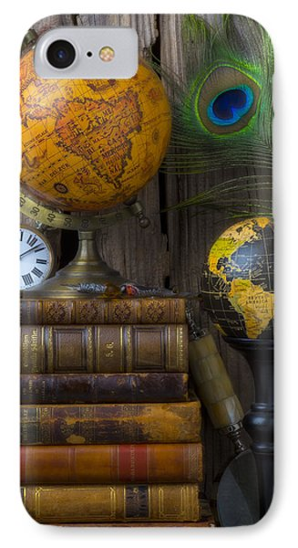 Globes And Old Books Phone Case by Garry Gay