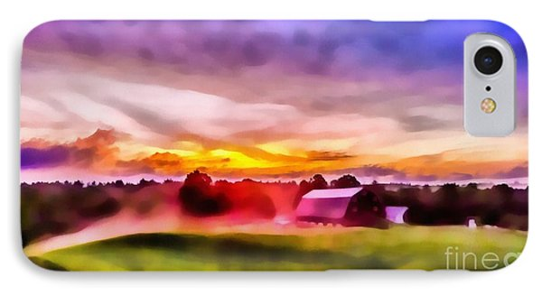 Glorious Sunset On The Farm IPhone Case by Edward Fielding